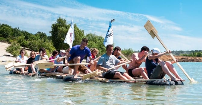 Building and driving a raft together - an adventure for teams of all sizes.